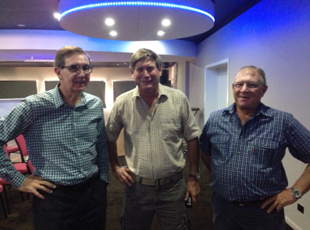 Tom McNeill, Russell Biggs and John Mau at the Proserpine function